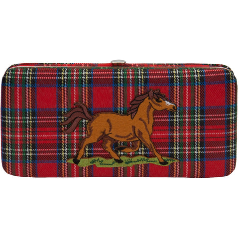 Trotting Horse Plaid Clasp Wallet