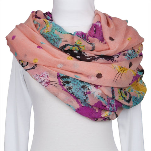 Colorful Felines Pink Scarf