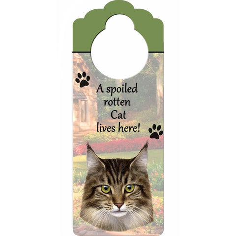 A Spoiled Maine Coon Doorknob Sign