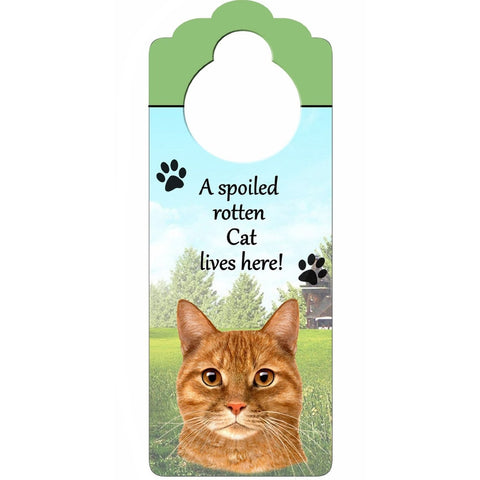 A Spoiled Orange Tabby Doorknob Sign