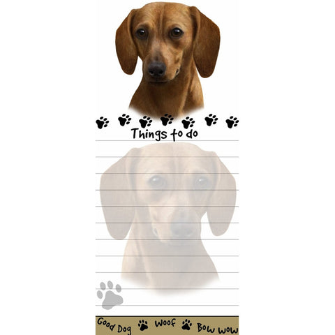 Dachshund Red Tall Magnetic Notepad