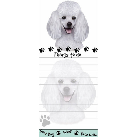 Poodle White Tall Magnetic Notepad