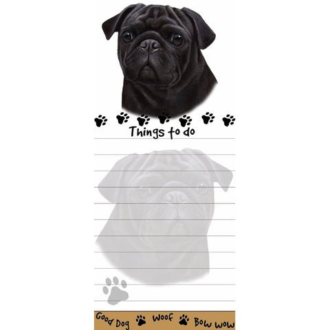 Black Pug Tall Magnetic Notepad
