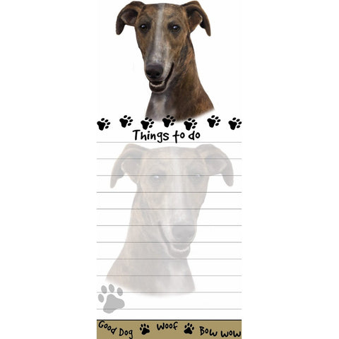 Brindle Greyhound Tall Magnetic Notepad