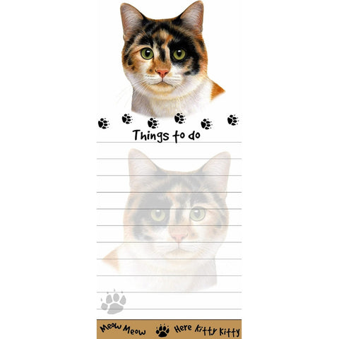 Calico Cat Tall Magnetic Notepad