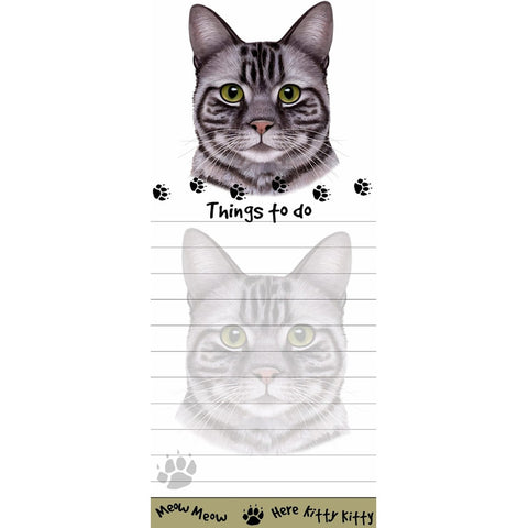 Silver Tabby Cat Tall Magnetic Notepad