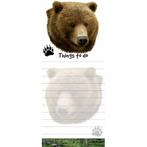 Grizzly Bear Tall Magnetic Notepad
