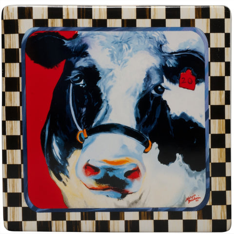 Moo-Moo Cow Framed Art Plaque