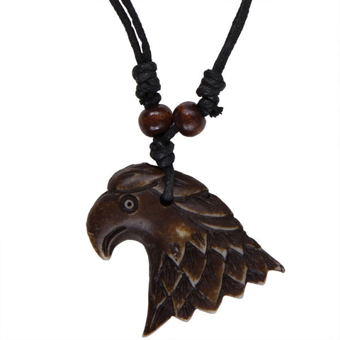 Brown Carved Eagle Necklace with Cord