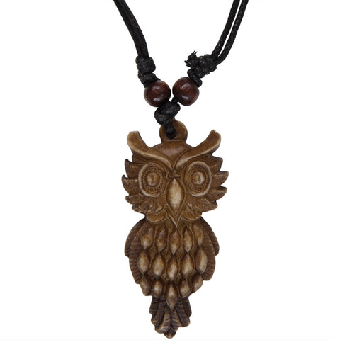 Brown Carved Owl Necklace with Cord