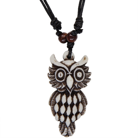 White Carved Owl Necklace with Cord