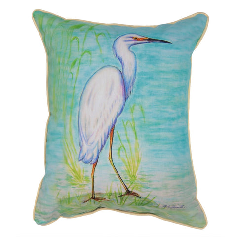 Snowy Egret Large Indoor/Outdoor Accent Pillow
