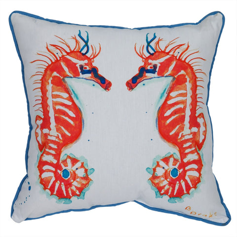 Coral Seahorses Indoor/Outdoor Accent Pillow