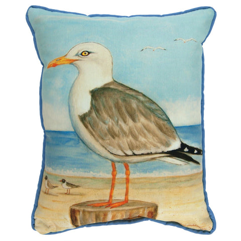 Single Seagull Small Indoor/Outdoor Accent Pillow
