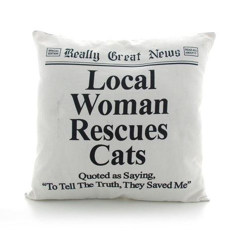 Local Woman Rescues Cats Headline Accent Pillow