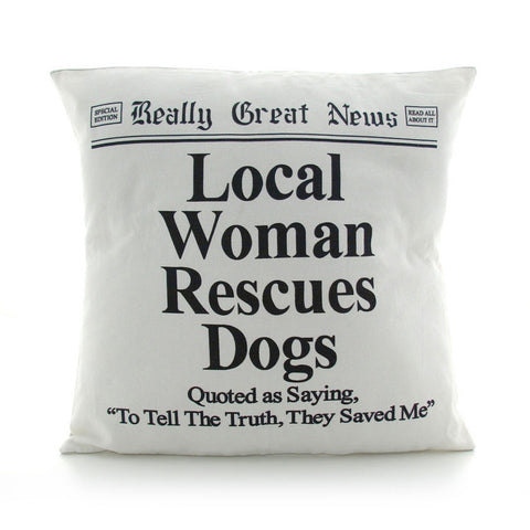 Local Woman Rescues Dogs Headline Accent Pillow