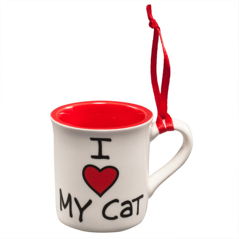 I Heart My Cat Red Little Mug Christmas Ornament