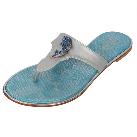 Jeweled Dolphin Silver Women's Sandals