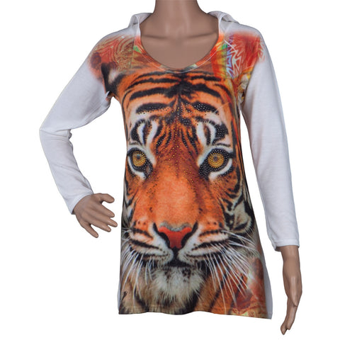 Bengal Tiger Juniors Hooded Long Sleeve T-Shirt