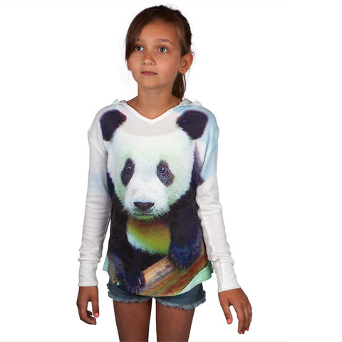 Panda Kids Hooded Long Sleeve T-Shirt