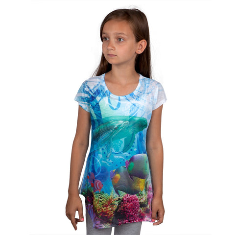 Dolphin Collage Girls Tunic Shirt