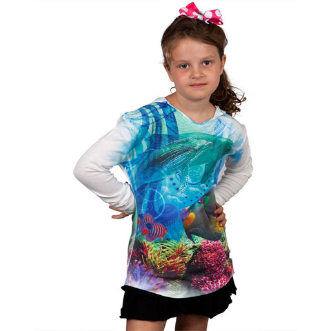 Dolphin Collage Girls Hooded Long Sleeve T-Shirt