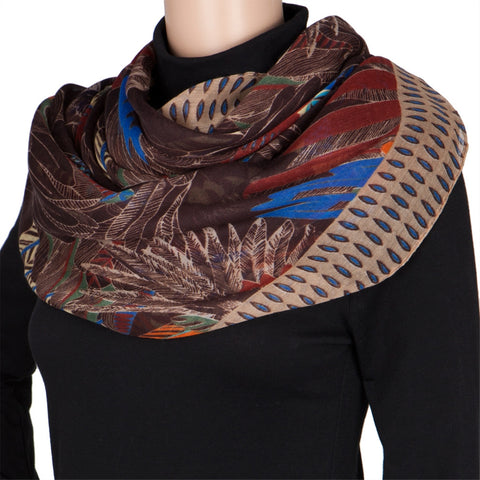 Hawaiian Feather Print Brown Scarf