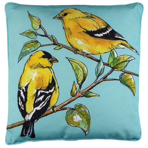 A Pair Of Goldfinches Outdoor/Indoor Accent Pillow