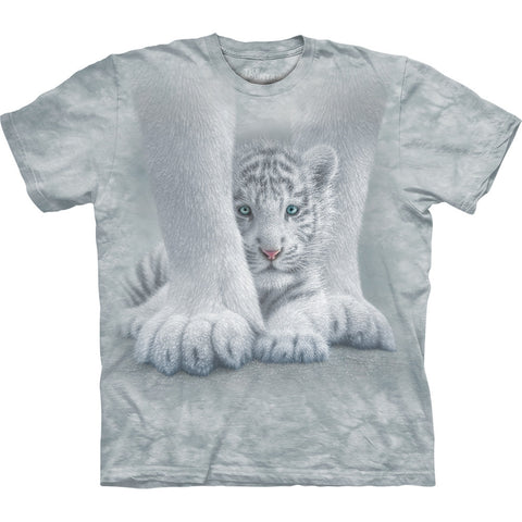White Tiger Cub Sheltered Kids T-Shirt
