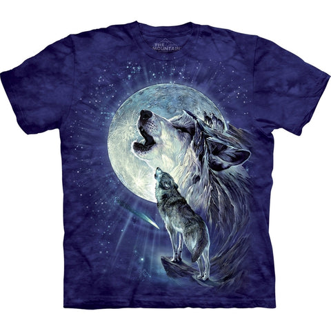 Wolf Duo Howling At Moon Kids T-Shirt