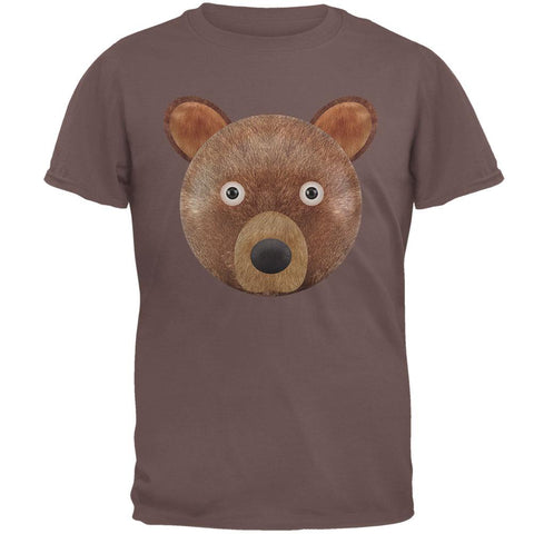 Cute Teddy Bear Head Brown T-Shirt