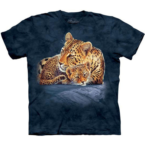 Leopard & Cub on Rock Kids T-Shirt