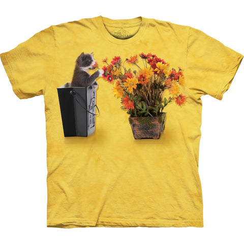 Kitten Playing With Flowers Kids T-Shirt