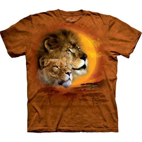 Lion Couple in Desert Sun Kids T-Shirt