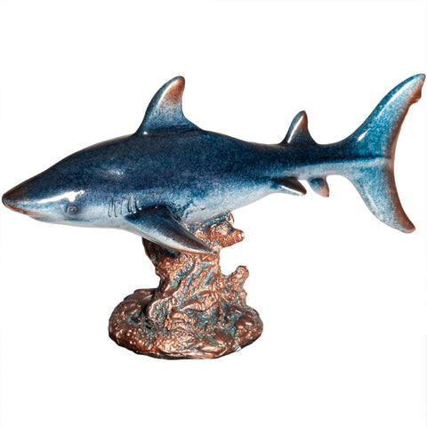 Gray Shark Resting On Coral Figurine