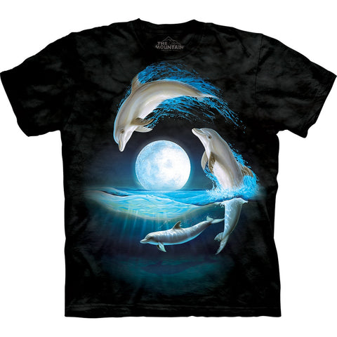 Dolphins Jumping Over the Moon Kids T-Shirt