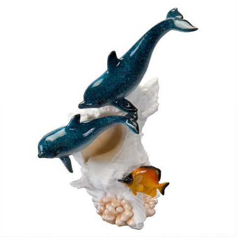 Bottlenose Dolphin Couple Swimming Figurine