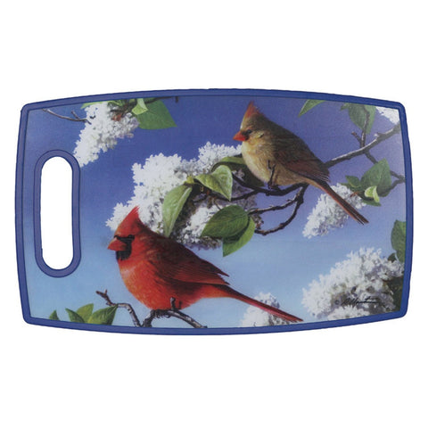 Cardinals On a Branch Cutting Board