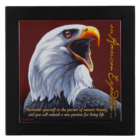 Bald Eagle Wood Framed Trivet