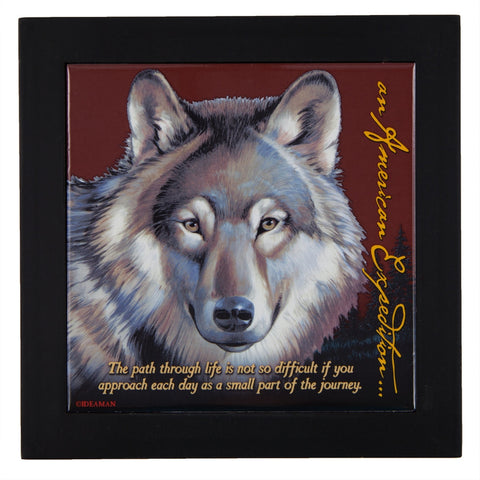 Gray Wolf Wood Framed Trivet