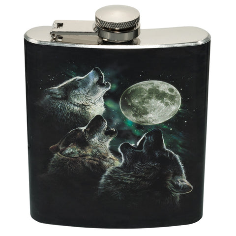 3 Wolves In Moonlight Flasks