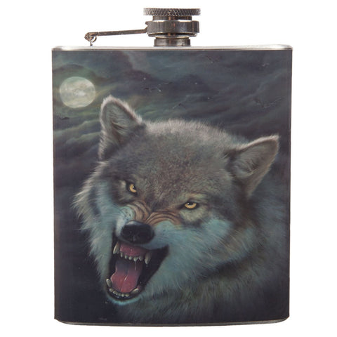 Growling Wolf Flask