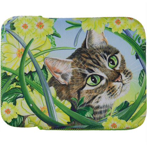 Cat in Flowers Fabric Tablet Cover