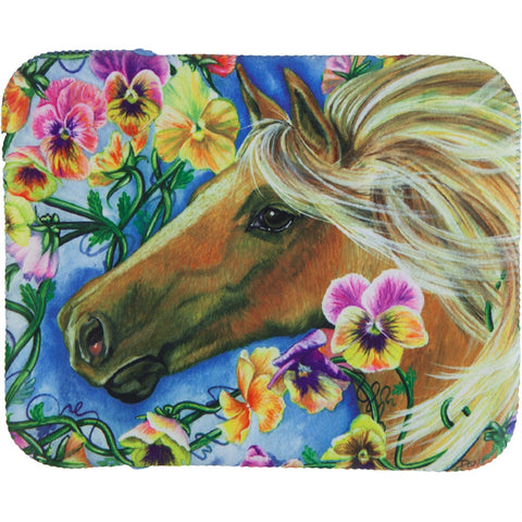 Brown Horse In Flowers Fagric Tablet Cover