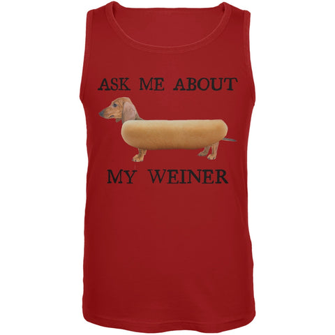 Ask Me About My Weiner Red Tank Top