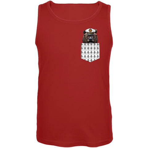 Faux Pocket Nautical Bear Tank Top