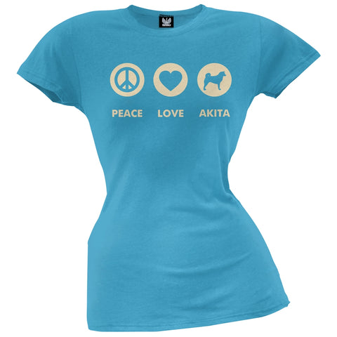 Peace Love Akita Juniors T-Shirt