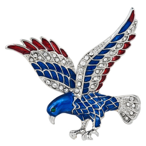 Patriotic Jewel Studded Silver Plated Eagle Bar Pin