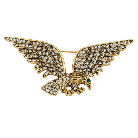 Jeweled Gold Plated Eagle Bar Pin