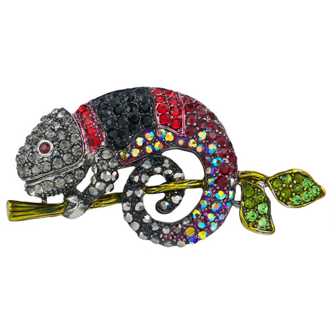 Chameleon Jeweled Silver Bar Pin